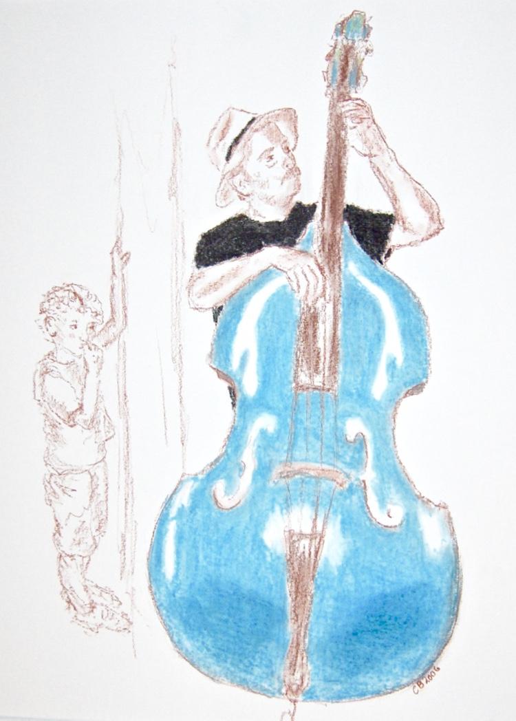 Blauwe bas, conté, 36 x 50 cm