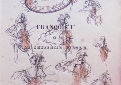 Concert in Lasalle, pen en sepia potlood op oud papier, 11 x 14,5 cm