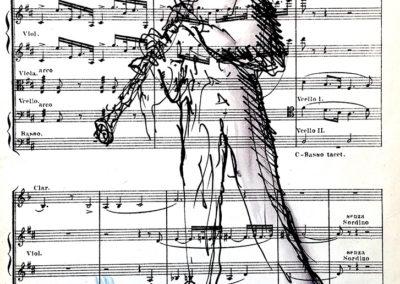 Hoboiste,-pen-in-oude-partituur,-13,5-x-18,5-cm