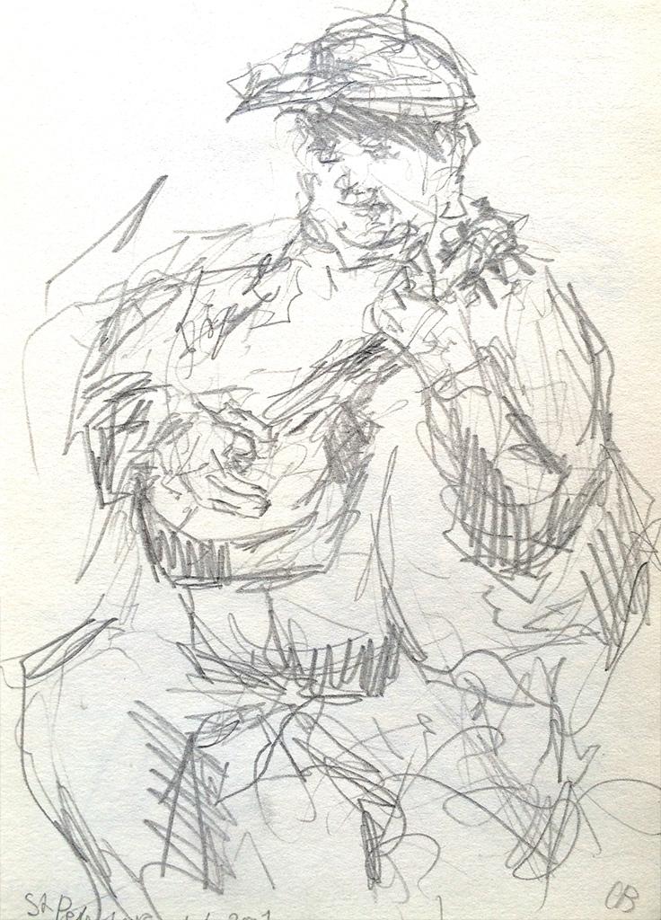 In St petersburg op straat, potlood in schetsboekje, 14,5 x 21,5-cm