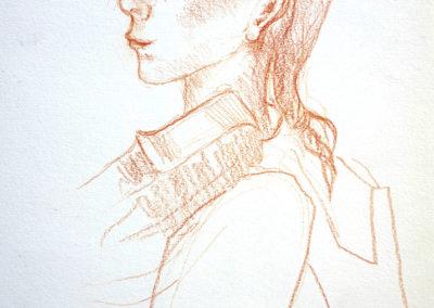 Liesbeth, sanguine, 16 x 21,5 cm