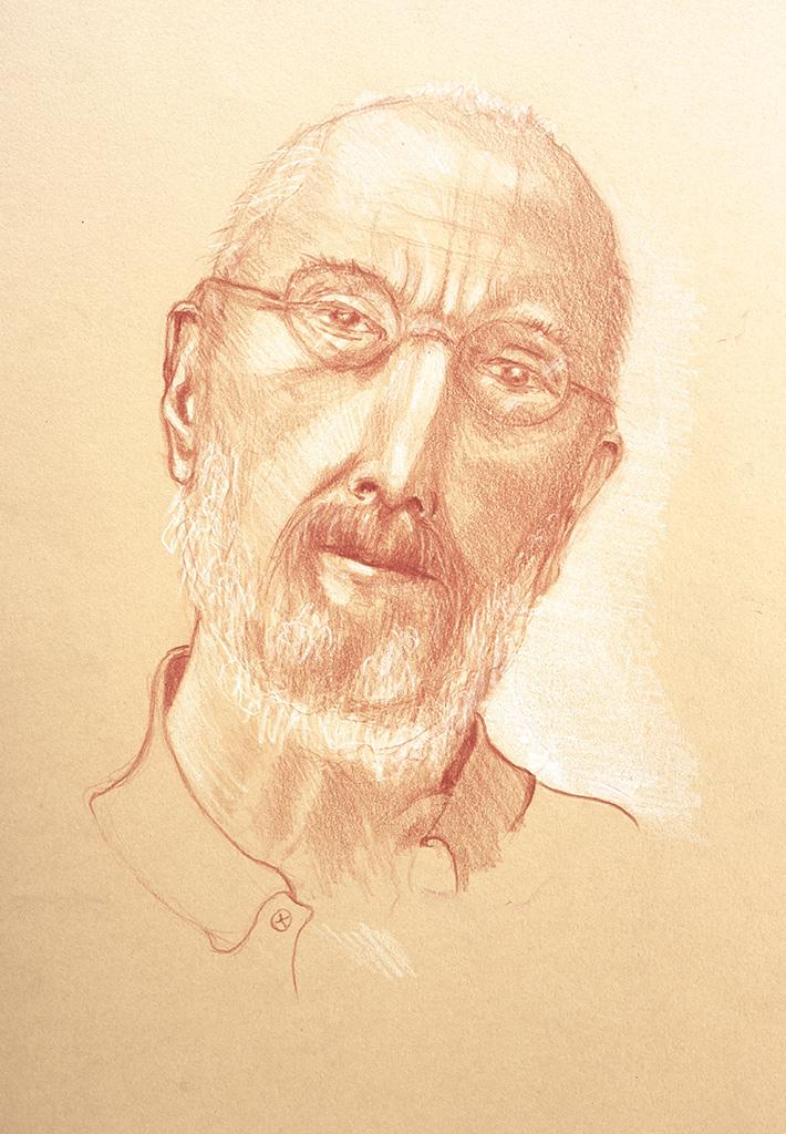 Portret Patrick, sanguine, wit gehoogd, 21 x 30 cm