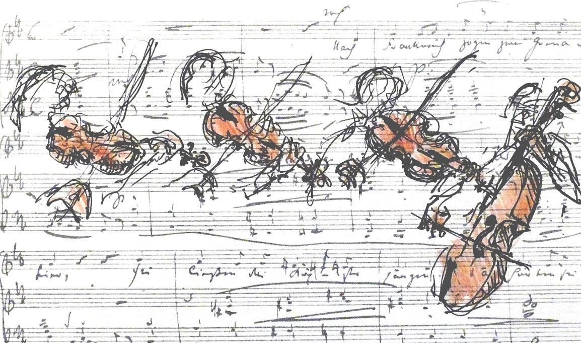 Strijkkwartet, pen en sepia potlood op oud muziekpapier, 9 x 18 cm