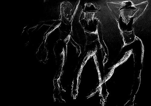 Veaudeville wit krijt op zwart papier 36x50 cm Christine Brandenburg