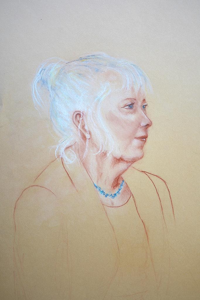 Portret Zondagmiddag I, conté, 50 x 62 cm