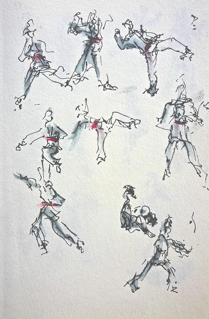De Judoles in Mur de Bretagne, pen,  rood krijt 15 x 21 cm.
