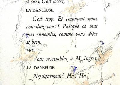 La Danseuse, krijt in oud boek, 29 x 38 cm.