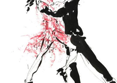 Tangopaar, inkt en krijt, 27 x 32 cm