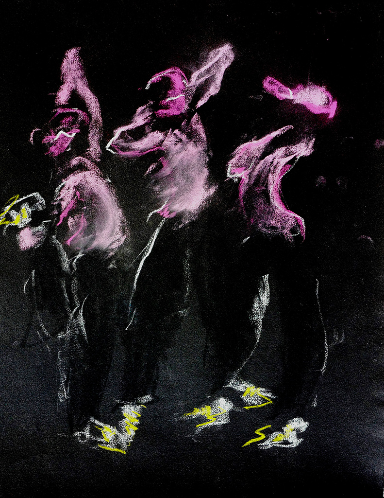 HipHop II, krijt op zwart papier 28 x 32 cm