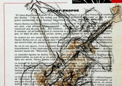 Expressie, aquarelkrijt op oud muzieklesboek, 17,5x22,5