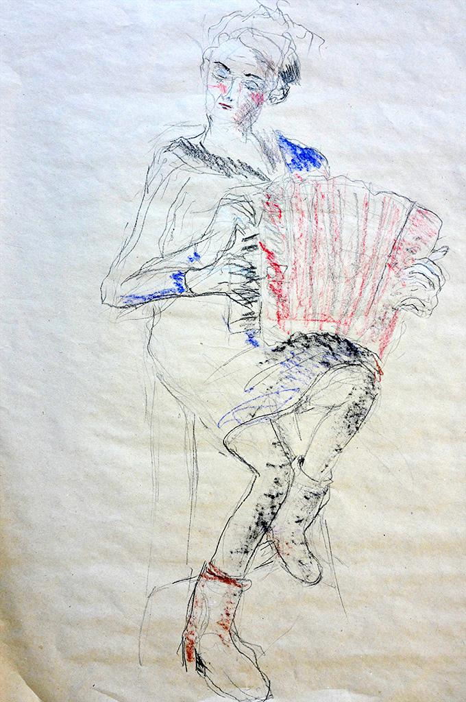 Irene Rametta, conté op grijs papier, 50 x 70 cm