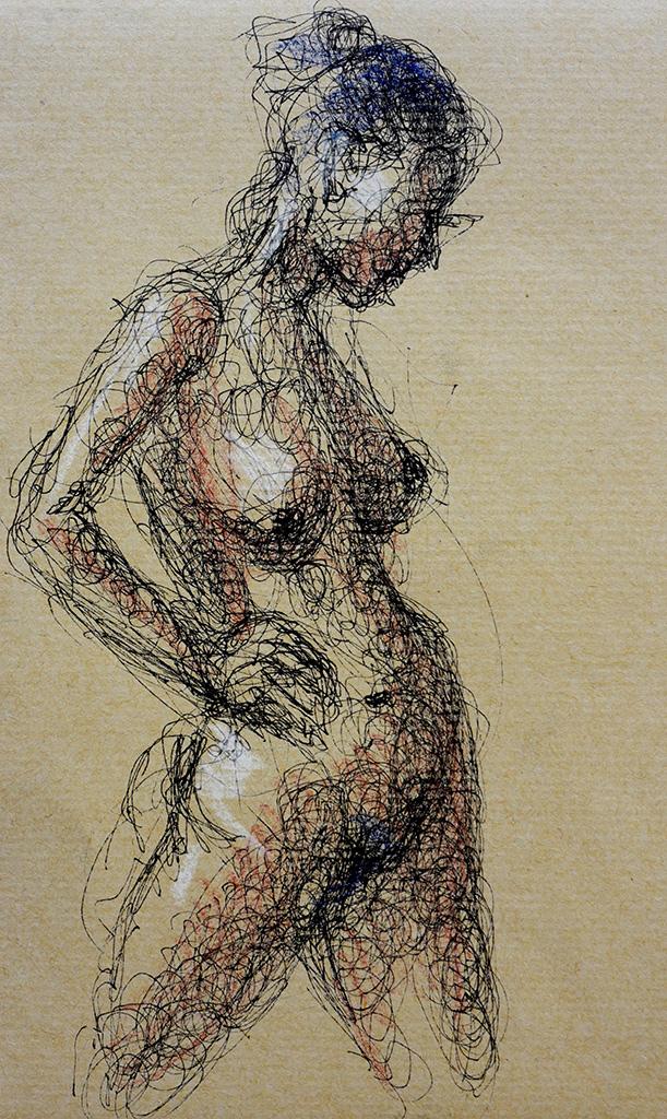 Linde ballpoint & krijt op bruin papier 13,5x20,5 cm