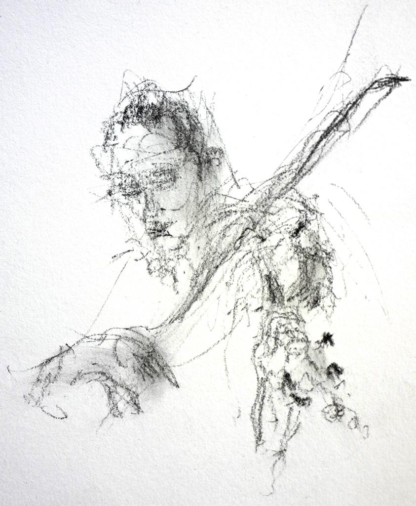 Barokviool houding, houtskool, 16 x 21,5 cm